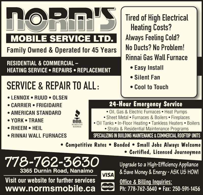 Norm S Mobile Services Ltd 3365 Durnin Rd Nanaimo Bc