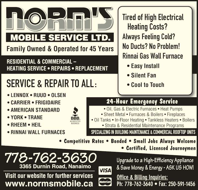 Norm 39 s mobile services ltd 3365 durnin rd nanaimo bc for Columbia flooring jobs