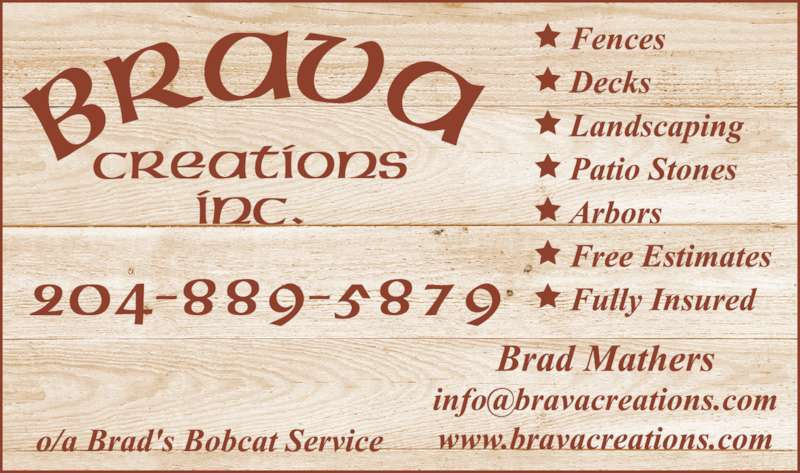 Brava Creations (204-889-5879) - Display Ad -