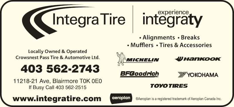 Integra Tire (403-562-2743) - Display Ad -