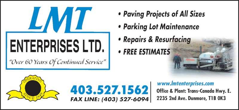 Lmt Enterprises Ltd Dunmore Ab 2235 2 Ave Canpages