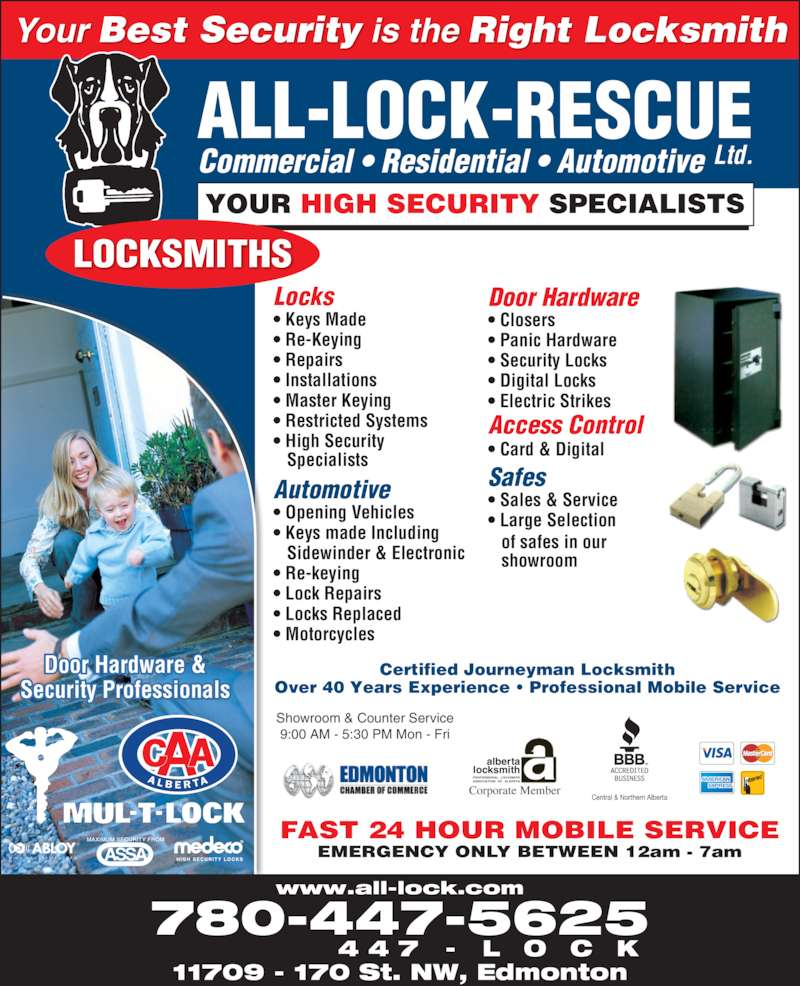 All Lock Rescue Ltd Opening Hours 11709 170 St Nw