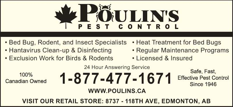 Poulin's Pest Control (780-477-1671) - Display Ad -