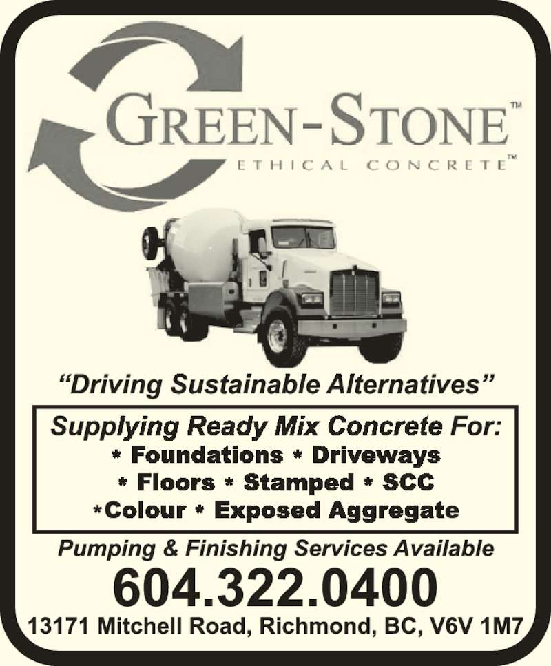 Green Stone Ethical Concrete Ltd 13171 Mitchell Rd
