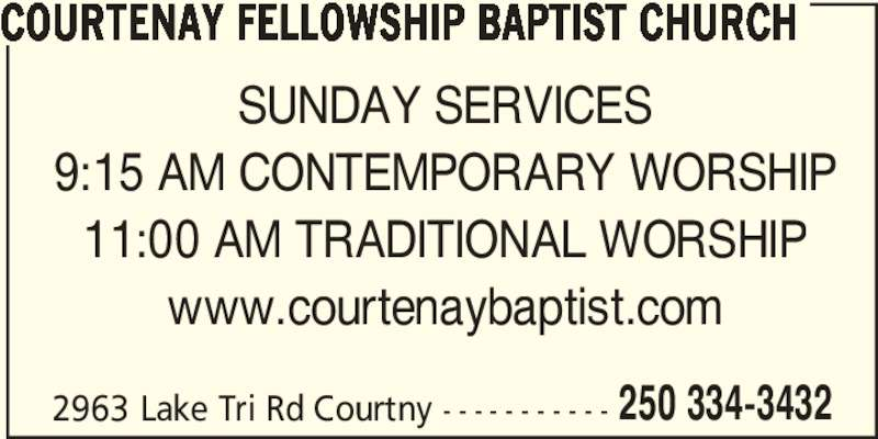Ads Courtenay Fellowship Baptist Church