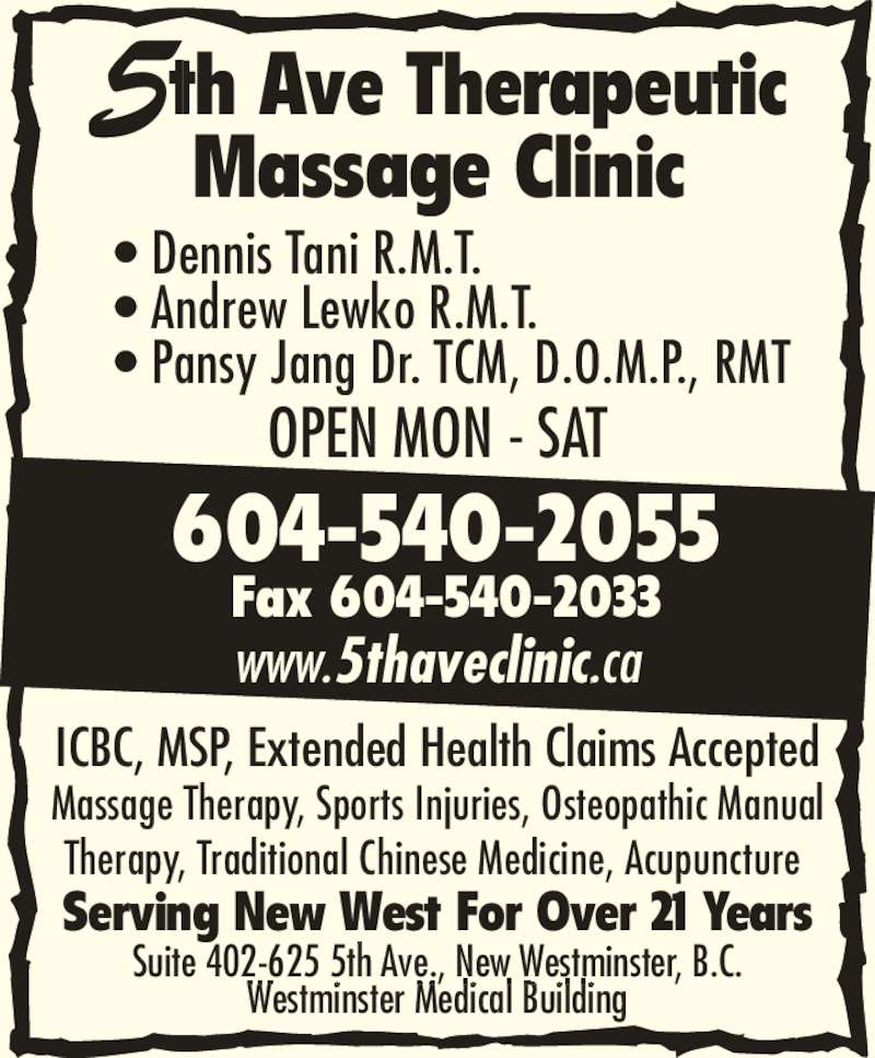 5th ave therapeutic massage amp acupuncture clinic opening hours 402