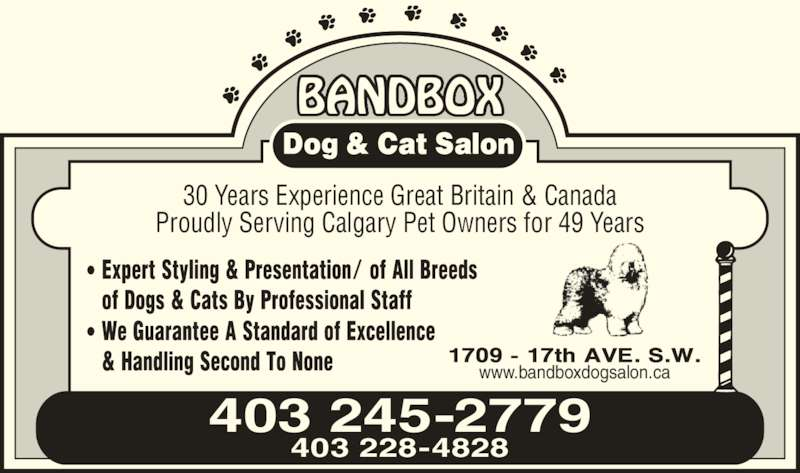 BandBox Dog & Cat Salon (403-245-2779) - Annonce illustrée======= -