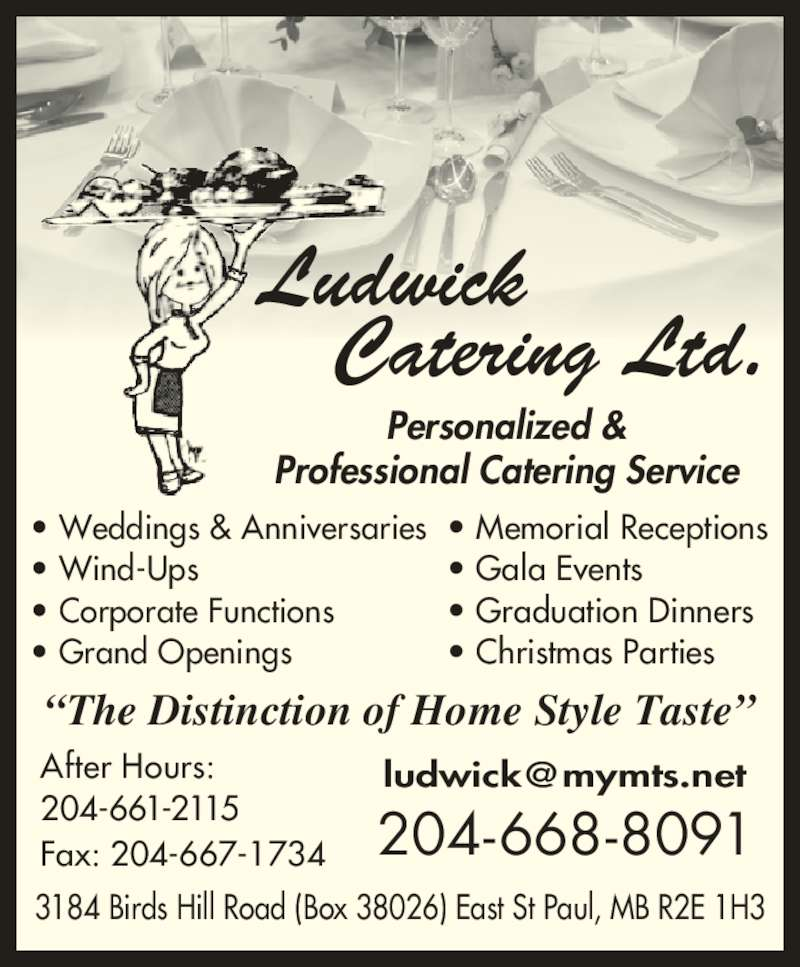 Ludwick Catering Ltd East Saint Paul Mb 3184 Bird S Hill Rd Canpages
