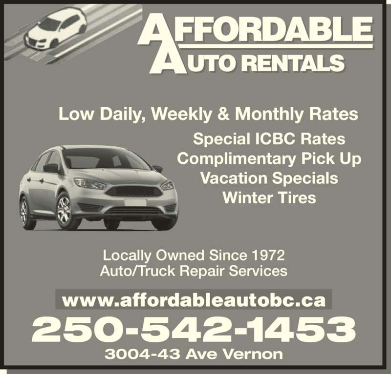Affordable Auto Rentals Vernon Bc 3004 43 Ave Canpages