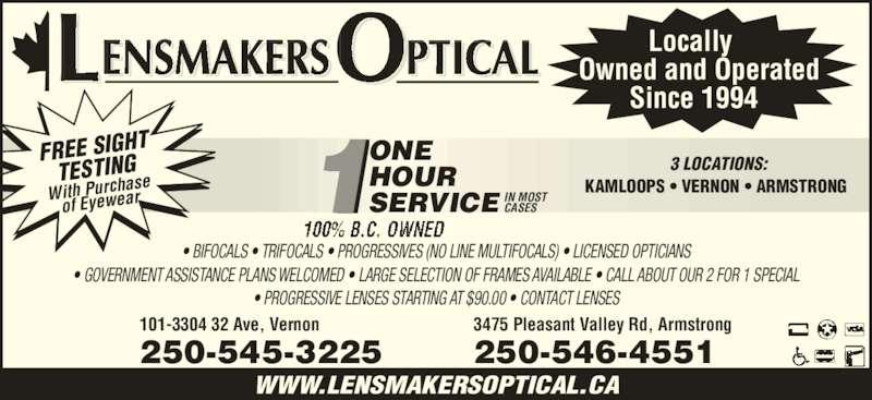 Glasses Frames Vernon Bc : Lensmakers Optical - 101-3304 32 Ave, Vernon, BC