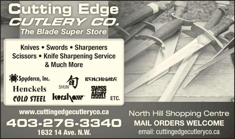 Cutting Edge Cutlery (403-276-3340) - Annonce illustrée======= -