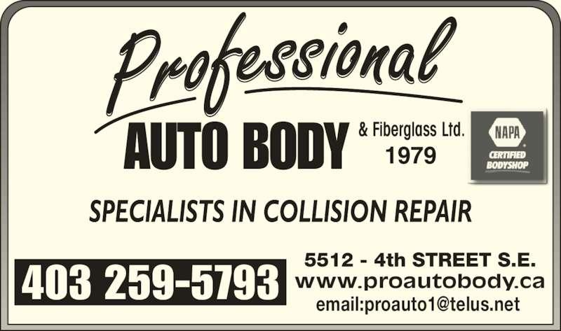 NAPA AUTOPRO (403-259-5793) - Display Ad - & Fiberglass Ltd.
