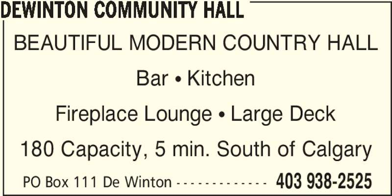 Ads DeWinton Community Hall