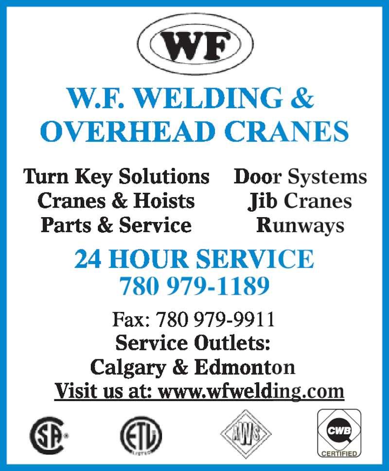 Overhead Crane Nisku : W f welding overhead cranes ltd ave nisku ab