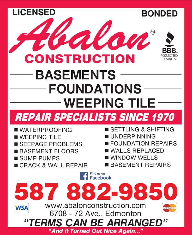 Abalon Construction (780-468-4400) - Display Ad - 587 882-9850