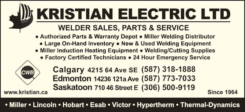 Kristian Electric Ltd (403-292-9111) - Display Ad - (587) 773-7033 (306) 500-9119 (587) 318-1888