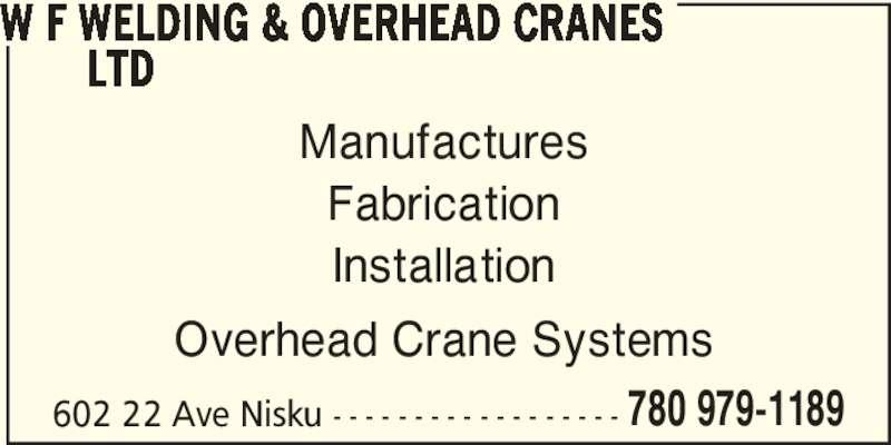 Overhead Crane Nisku : W f welding overhead cranes ltd nisku ab ave