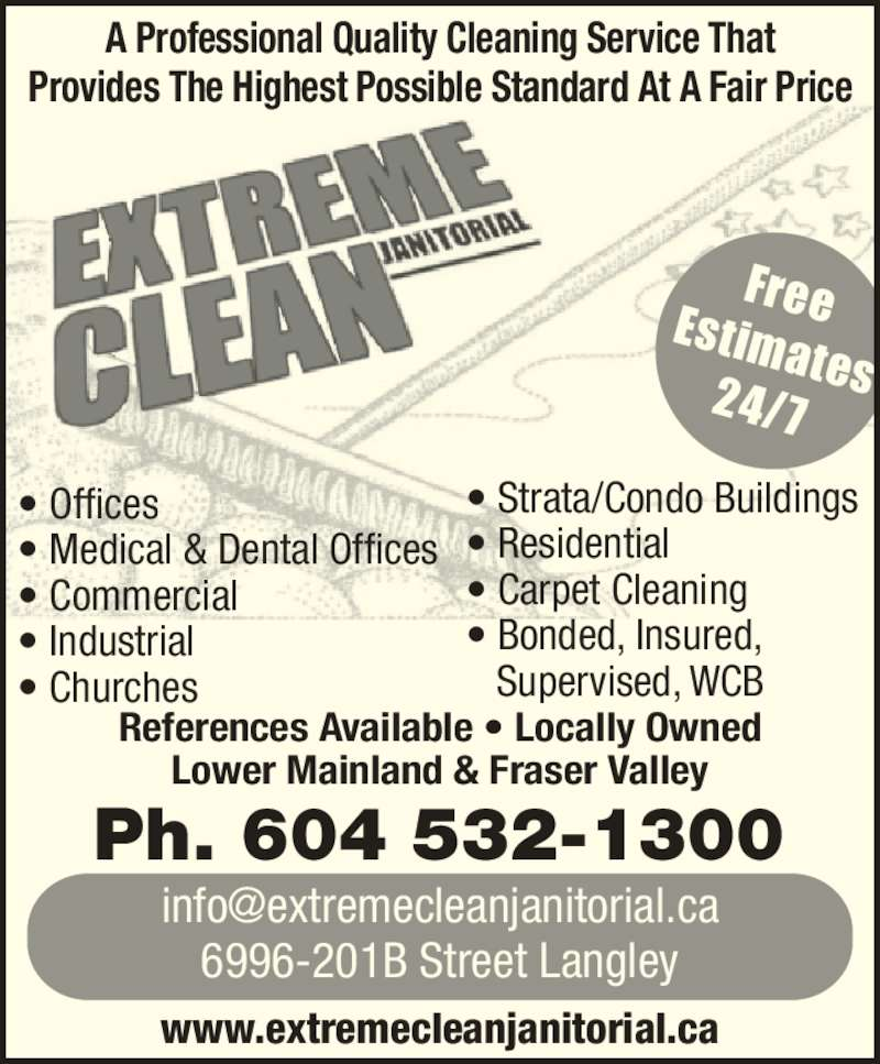 Extreme Clean Janitorial Inc 6996 201b St Langley Bc