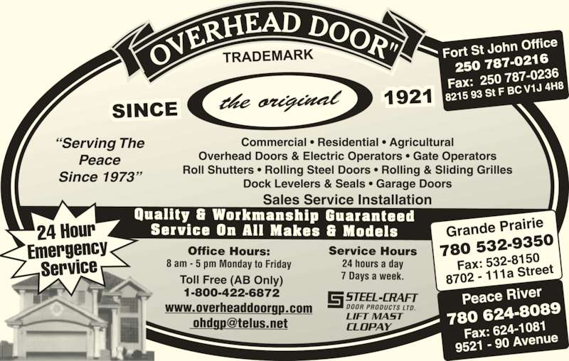 Overhead Door Co Of Grande Prairie (1979) Ltd (780-532-9350) - Display Ad -
