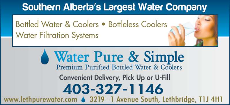 Water Pure & Simple (403-327-1146) - Display Ad - Bottled Water & Coolers ? Bottleless Coolers Water Filtration Systems
