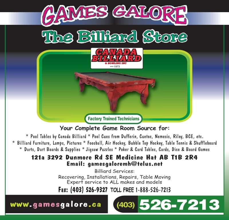 Games Galore Amp The Billiard Store Medicine Hat Ab