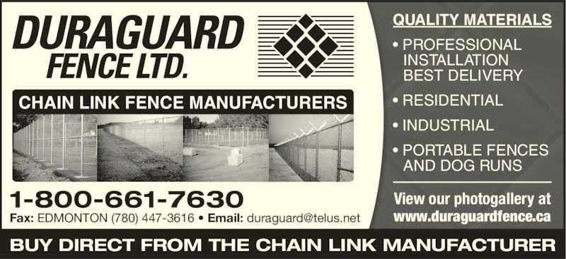 Duraguard Fence Ltd Edmonton Ab 10624 214 Street Nw