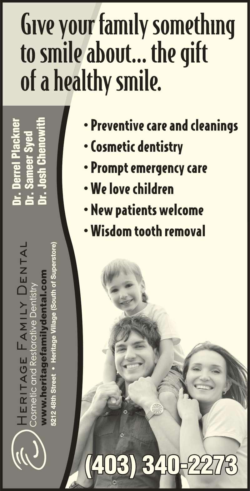 Heritage Family Dental (403-340-2273) - Display Ad - (403) 340-2273 .h ri ta fa il yd ta l. .h ri ta fa il yd ta l.