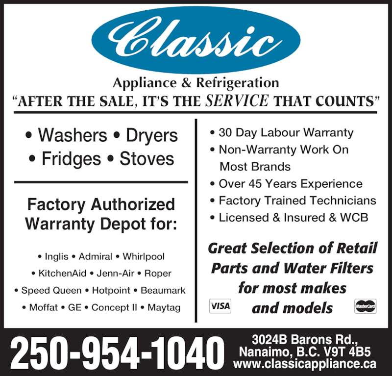 Classic Appliance Opening Hours 3024 Barons Rd