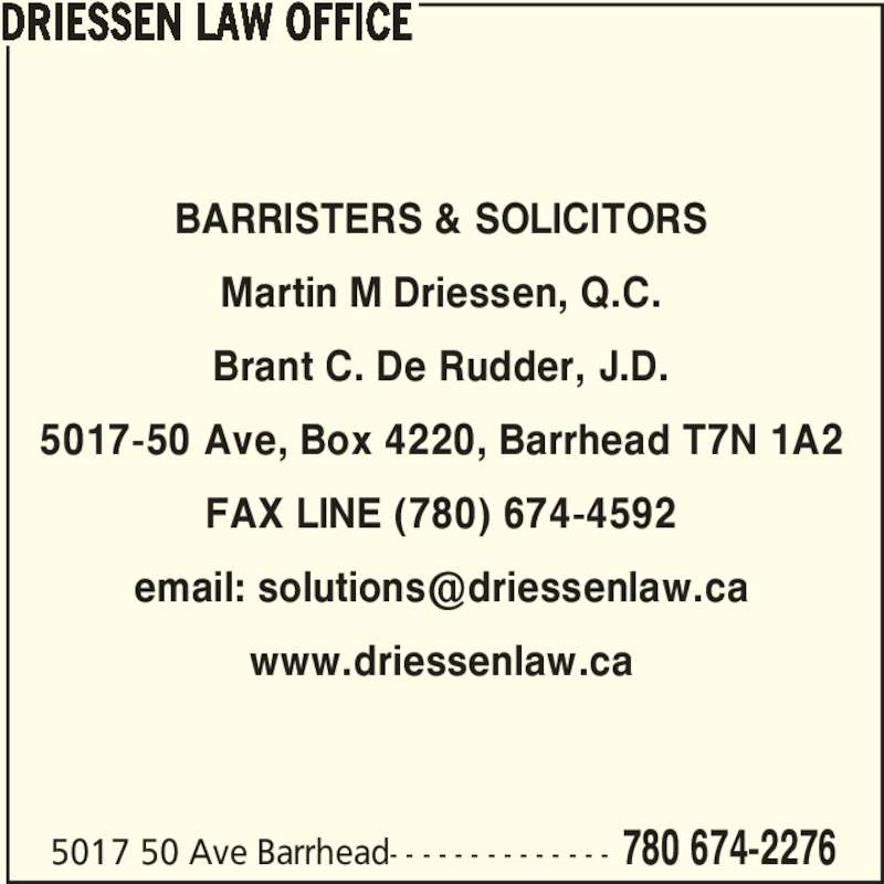 Driessen Martin QC - Barrhead, AB - 5017 50th Avenue ...