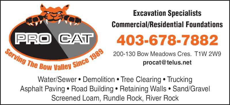 Procat Contracting Ltd (403-678-7882) - Annonce illustrée======= -