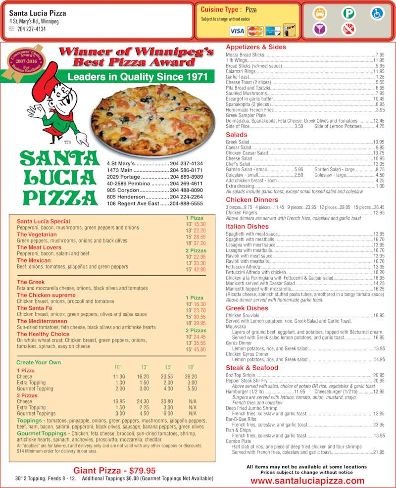 santa lucia pizza menu hours prices 4 st mary 39 s rd. Black Bedroom Furniture Sets. Home Design Ideas