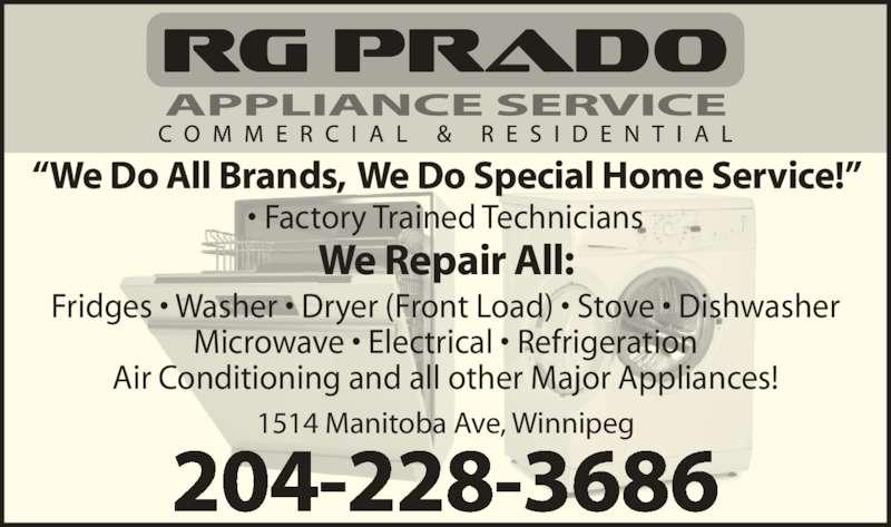 Rgprado Appliance Service Opening Hours 1514 Manitoba
