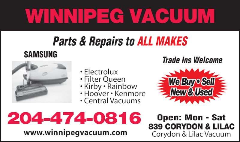 Winnipeg Vacuum Opening Hours 839 Corydon Ave