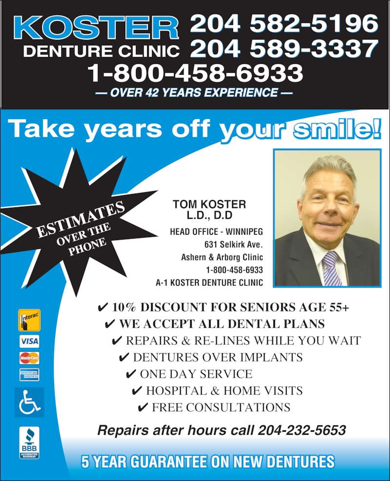 Koster Denture Clinic Winnipeg Mb 631 Selkirk Ave