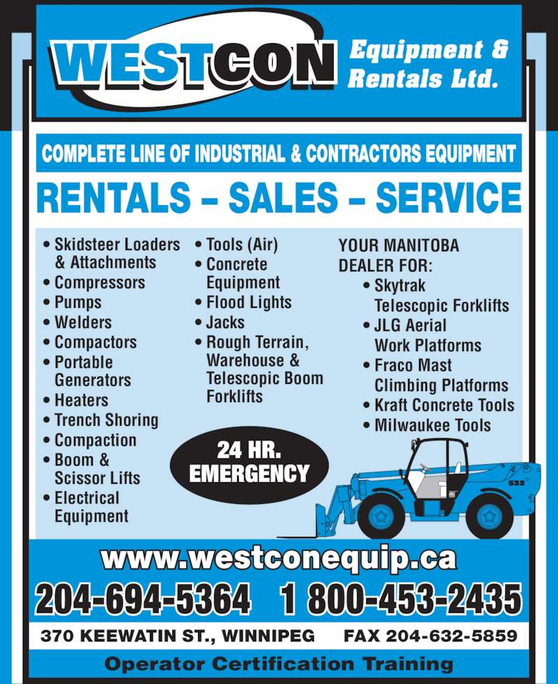 Apartment Rental Ads: Westcon Equipment & Rentals Ltd.