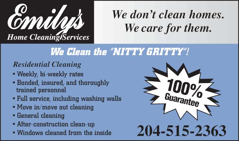 emily 39 s home cleaning services opening hours 729 corydon ave winnipeg mb. Black Bedroom Furniture Sets. Home Design Ideas