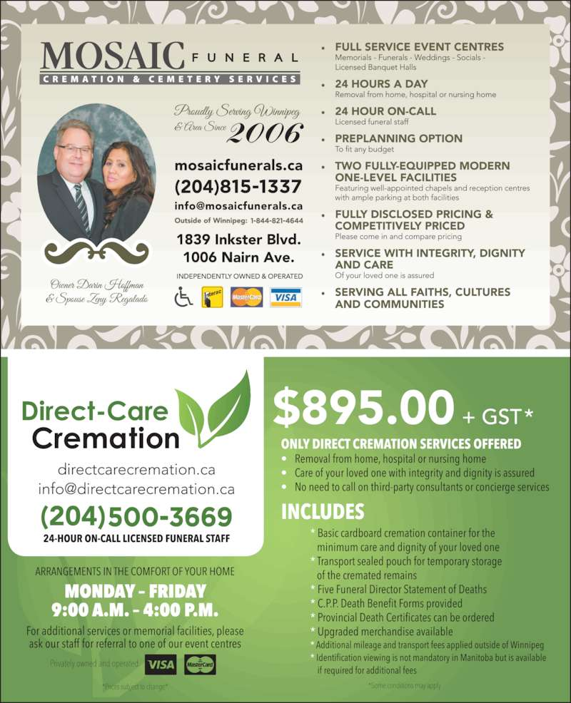 Mosaic Funeral Cremation & Cemetery Services (204-275-5555) - Display Ad -