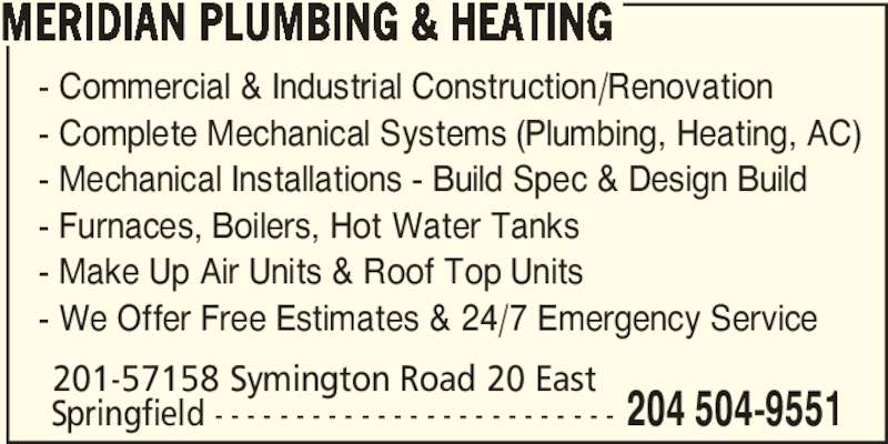 Meridian Plumbing Heating Opening Hours 201 57158
