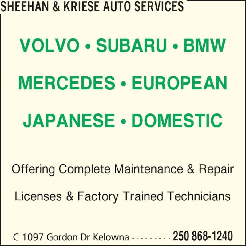 Sheehan Amp Kriese Auto Services Kelowna Bc 1097c Gordon Dr Canpages