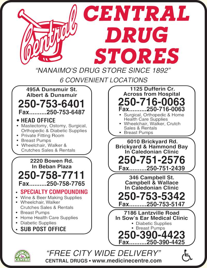 Central Drugs (250-753-6401) - Display Ad - ?  Diabetic Supplies ?  Breast Pumps Fax..........250-390-4425 346 Campbell St. Campbell & Wallace In Caledonian Clinic 250-753-5342 Fax..........250-753-5147 ?NANAIMO'S DRUG STORE SINCE 1892?  ?FREE CITY WIDE DELIVERY? CENTRAL DRUGS ? www.medicinecentre.com 6 CONVENIENT LOCATIONS 495A Dunsmuir St. Albert & Dunsmuir ? Wheelchair, Walker &  Crutches Sales & Rentals 2220 Bowen Rd. In Beban Plaza ? SPECIALTY COMPOUNDING ? Wine & Beer Making Supplies ? Wheelchair, Walker  Crutches Sales & Rentals ? Breast Pumps ? Home Health Care Supplies ? Diabetic Supplies ? SUB POST OFFICE 250-758-7711  1125 Dufferin Cr. Across from Hospital 7186 Lantzville Road In Sow?s Ear Medical Clinic 250-390-4423 250-716-0063 ? Surgical, Orthopedic & Home 250-753-6401 Fax..........250-753-6487 Fax..........250-758-7765 ? HEAD OFFICE ? Mastectomy, Ostomy, Surgical,  Orthopedic & Diabetic Supplies   Health Care Supplies ? Wheelchair, Walker, Crutch   Sales & Rentals ? Private Fitting Room ? Breast Pumps ? Breast Pumps Fax..........250-716-0063  6010 Brickyard Rd. Brickyard & Hammond Bay In Caledonian Clinic 250-751-2576 Fax..........250-751-2439