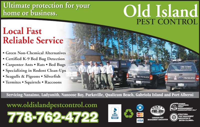 Old Island Pest Control (250-920-6267) - Display Ad - www.oldislandpestcontrol.com ? Green Non-Chemical Alternatives ? Certified K-9 Bed Bug Detection ? Carpenter Ants ? Rats ? Bed Bugs ? Specializing in Rodent Clean-Ups ? Seagulls & Pigeons ? Silverfish ? Termites ? Squirrels ? Raccoons Ultimate protection for your Local Fast Reliable Service 778-762-4722 778-762-4722 778-762-4722 62-4722 778-762-4722 home or business. l       . Servicing Nanaimo, Ladysmith, Nanoose Bay, Parksville, Qualicum Beach, Gabriola Island and Port Alberni Old Island PEST CONTROL www.oldislandpestcontrol.com ? Green Non-Chemical Alternatives ? Certified K-9 Bed Bug Detection ? Carpenter Ants ? Rats ? Bed Bugs ? Seagulls & Pigeons ? Silverfish ? Termites ? Squirrels ? Raccoons Ultimate protection for your Local Fast Reliable Service ? Specializing in Rodent Clean-Ups 778-762-4722 778-762-4722 778-762-4722 62-4722 778-762-4722 home or business. l       . Servicing Nanaimo, Ladysmith, Nanoose Bay, Parksville, Qualicum Beach, Gabriola Island and Port Alberni Old Island PEST CONTROL