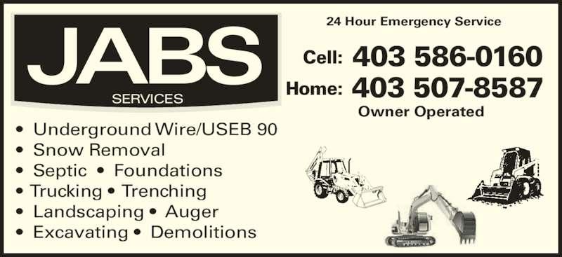 Jabs Services (403-586-0160) - Annonce illustrée======= -