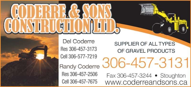 Coderre W H & Sons Construction Ltd (306-457-3131) - Annonce illustrée======= -