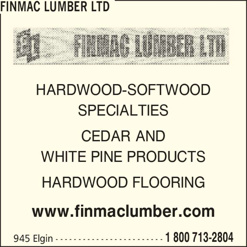 Finmac lumber ltd opening hours elgin ave