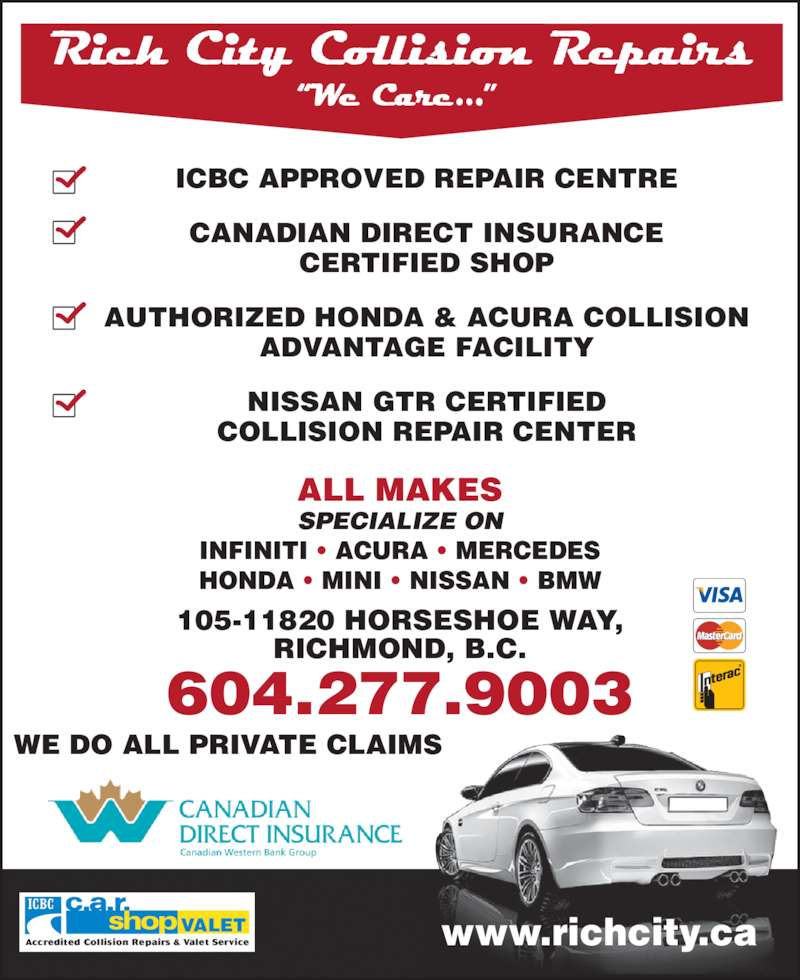Nissan Of Richmond >> Rich City Collision Repairs - Opening Hours - 105-11820 Horseshoe Way, Richmond, BC