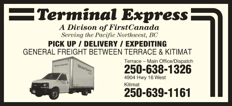 Terminal Express FirstBus Canada (250-638-1326) - Display Ad -