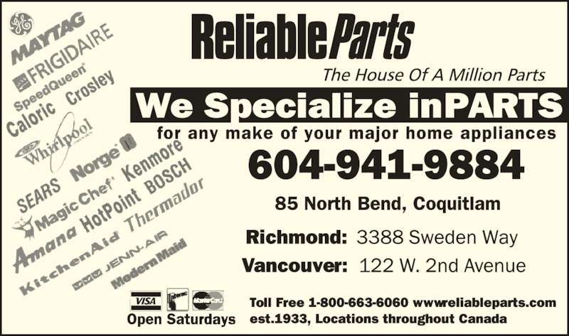 Reliable Parts Ltd Coquitlam Bc 85 North Bend St