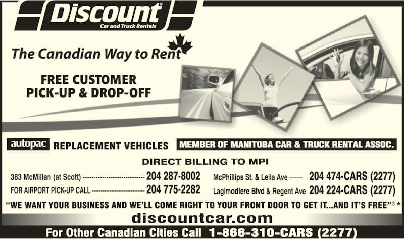 Discount Car and Truck Rentals (204-287-8002) - Display Ad -