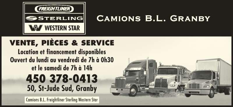 Camions B L Freightliner Sterling Western Star (450-378-0413) - Annonce illustrée======= -