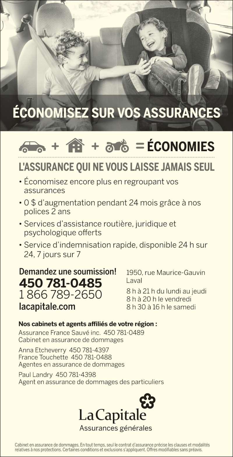 La Capitale assurances générales (450-781-0485) - Annonce illustrée======= -